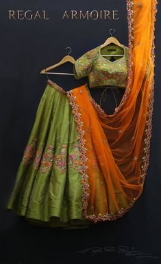 One more ensemble from The Princess of Thanjavur inspired from Minars of Thanjavur With a combination of Regal Crop top and ever impressive Earthy Leaf Green Lehenga and Juvenile Orange Dupatta From Regal Armoire.For Queries/Quotations/Orders call or watsapp : 8885500138. 16 February 2018