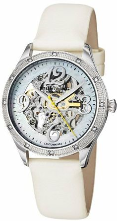 Stuhrling Original Women's 196SW3.121P3 Vogue Melody Automatic Skeleton Swarovski Crystal Mother-Of-Pearl White Watch Stuhrling Original. $230.00. White satin twill covered genuine leather strap with silvertone tang buckle. Water-resistant to 50 m (165 feet). Stainless steel round shaped case with protective krysterna crystal on front and back. White mother of pearl dial with center skeleton cut out and silvertone applied arabic numerals 12,3,6 and 9. Bezel with triple ro...