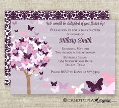 BUTTERFLY BABY SHOWER Invitations Pink Purple by CardtopiaCompany