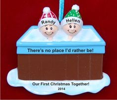 Our First Christmas Together Hot Tub Fun Personalized Christmas Ornament