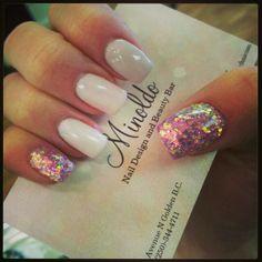 #pinkglitternails #nudenails #prettynails