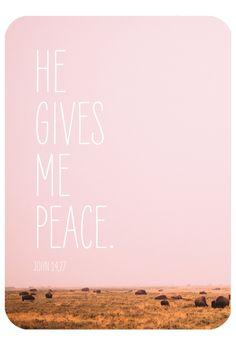 "Bibelvers auf der Postkarte: ""He gives me peace."" - John 14,27"