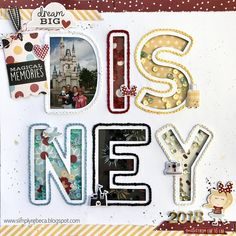 Disney 2018 Layout 🐭 💓 Adding a fun shaker design to a creative Disney-themed scrapbook layout is a wonderful id Vacation Scrapbook, Disney Scrapbook Pages, Baby Scrapbook, Scrapbook Paper, Scrapbook Designs, Scrapbooking Layouts, Pattern Paper, Paper Patterns, Clear Stickers