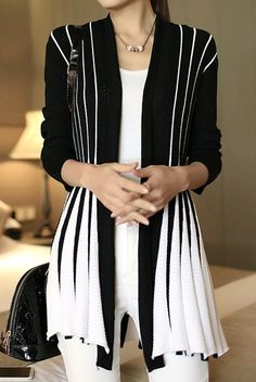 Stylish Women's Long Sleeve Color Block Cardigan