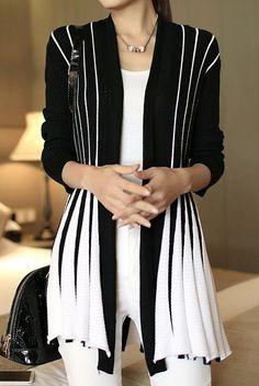 Stylish Women's Long Sleeve Color Block Cardigan