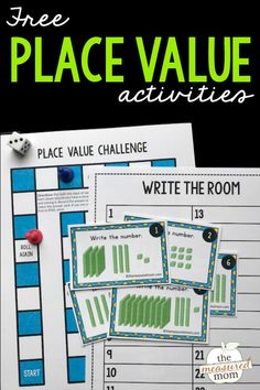 """Looking for a place value game for 2nd grade? Use these task cards, game board, and recording sheet for a fun activity! You can also use the cards and recording sheet for a fun """"write the room"""" activity."""