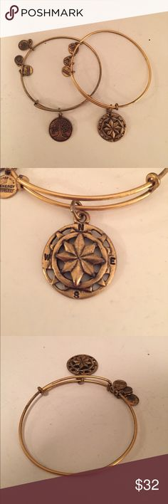 Alex & Ani: Tree of Life and Compass bracelets Little wear/tarnish on each as shown in pictures. Can be sold together or separately! Bought at the original store in Newport, Rhode Island! Alex & Ani Jewelry Bracelets