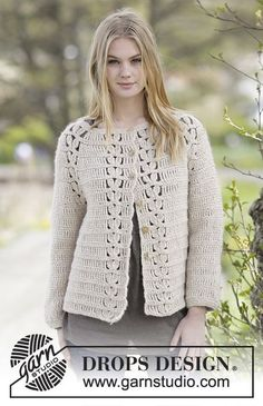 "Priscilla Cardigan - Crochet DROPS jacket with raglan and lace pattern in ""Air"". The piece is worked top down. Size: S - XXXL. - Free pattern by DROPS Design"