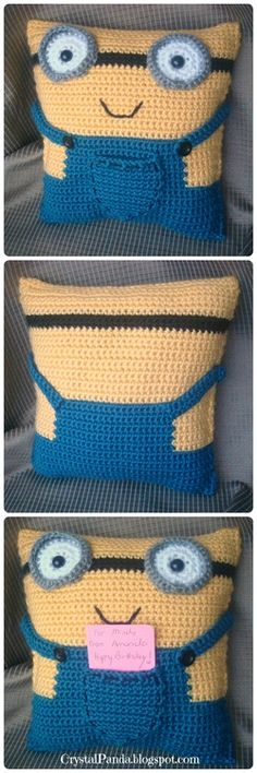 Crochet Minion Pillow Gift Card Holder - isnt he cute!   ... #inspiration_crochet #diy GB