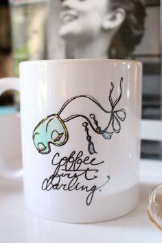 Coffee/Tea Mug: Coffee First, Darling {11 oz Ceramic Mug} {Breakfast at Tiffany's, Audrey Hepburn, Fashion Illustration, Porcelain Mug, Cup} by AThingCreated on Etsy https://www.etsy.com/listing/227327984/coffeetea-mug-coffee-first-darling-11-oz