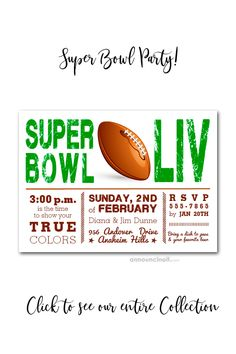 Super Bowl Showdown Party Invitations are a great way to invite your friends to join you for the big game LIV in Miami on February 2020 Party Invitations, Invites, For Your Party, Super Bowl, Football, Change, Number, Beautiful, Collection