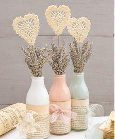 Valentine's Day Decoration - Romantic Decoration Up - Diy fashion - Valentinstag Diy Bottle, Wine Bottle Crafts, Mason Jar Crafts, Bottle Art, Mason Jars, Creative Crafts, Diy And Crafts, Yarn Crafts, Valentines Day Decorations