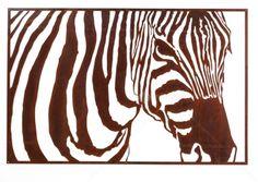 Outdoor Wall Sculpture :: Laser Cut Steel Wall Art :: Outdoor Laser Cut Wall Art - Rusty Zebra -