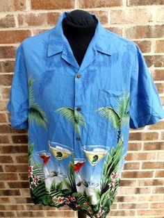 RJC Hawaiian Shirt Mens 2XL Tiki Bar Palm Trees Cocktails Hawaii Made Aloha Blue #RJC #Hawaiian