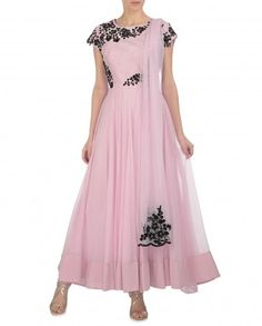 Soft Pink Anarkali Suit with Black Floral Embroidery in love with this combo