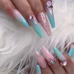 PINK OPAL Products used: GLITTERBELS BY ANNABEL: Glitterbels• Pink Opal Glitterbels• Pink Opal shimmer… - coffin #nails #nailscoffin #coffinnails