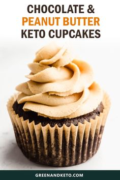 Keto Chocolate Cupcakes with Peanut Butter Frosting - Green and Keto Try this amazing keto chocolate cupcake recipe with sugar-free peanut butter buttercream frosting for a delicious low-carb dessert or snack. Perfect for birthdays, too! Chocolate Peanut Butter Cupcakes, Sugar Free Peanut Butter, Peanut Butter Frosting, Frosting For Chocolate Cupcakes, Almond Butter, Keto Friendly Desserts, Low Carb Desserts, Low Carb Recipes, Dessert Recipes