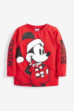 Boys Red Kids Matching Family Mickey Mouse Christmas Long Sleeve T-Shirt - Red Winter Baby Boy, Mickey Mouse Christmas, Graphic Sweatshirt, T Shirt, Shirts For Girls, Kids Fashion, Girl Outfits, Sweatshirts, Boys