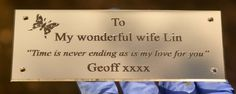 Lucky Lin!. We love this small engraved brass plaque. http://www.sign-maker.net/engraved/brass-signs.htm