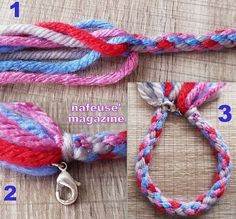 TUTO tresser un bracelet en laine Aide, Macrame, Personalized Items, Deco, Crafts, Jewelry, Tips And Tricks, Crafting, Manualidades