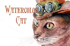 Posted by @newkoko2020 T-shirt graphics, watercolor cat by lilisavelieva on @creativemarket
