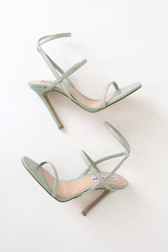 Zapatos Shoes, Shoes Heels, Sandal Heels, High Heels Sandals, High Heels Outfit, Ankle Strap Heels, Ankle Straps, Mint Green Heels, Designer Shoes