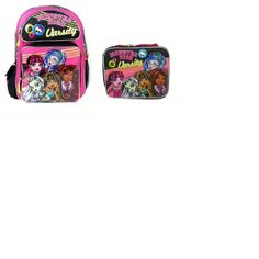 Monster High Backpack  Pink Varsity 16 Large  lunch box Girls School Book Bag Frankie *** Continue to the product at the image link.