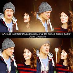 "Writer Diana Gabaldon on Sam Heughan & Caitriona Balfe's chemistry as Jamie and Claire in ""Outlander"""