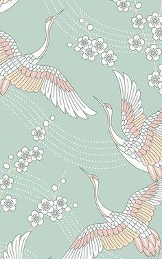 ideas oriental bird wallpaper flower for 2019 Oriental Wallpaper, Bird Wallpaper, Wallpaper Murals, Japanese Painting, Japanese Art, Aesthetic Backgrounds, Aesthetic Wallpapers, Jugendstil Design, Cherry Blossom Art