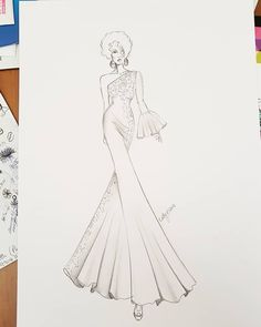 Fashion Design Drawing When sketching is life! Drawn while on hold on the telephone Illustration Techniques, Fashion Illustration Sketches, Fashion Sketchbook, Fashion Sketches, Dress Sketches, Dress Drawing, Fashion Figures, Fashion Design Drawings, Designs To Draw