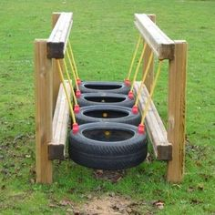 Brilliant Ways To Reuse And Recycle Old Tires ! - Engineering Discoveries - Brilliant Ways To Reuse And Recycle Old Tires ! Kids Backyard Playground, Playground Design, Backyard For Kids, Backyard Games, Playground Ideas, Pallet Playground, Natural Playground, Outdoor Fun For Kids, Outdoor Play Areas