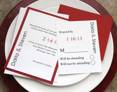 Modern In Red Wedding Invitations - Black and Red Wedding Invitation Suite -Invitation Sample-