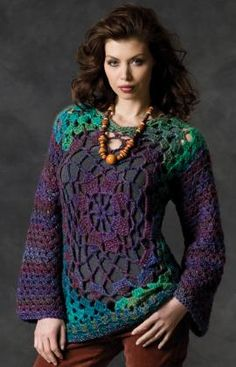 Hip Granny Tunic Crochet Pattern-You'll love this tunic's easy style plus the fun pattern makes this pullover fun to crochet. The rich colors of this yarn make this pullover even more unique. Created in 6 sizes, it's suited for everyone!