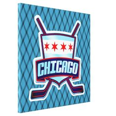 Chicago Ice Hockey Flag Box Canvas
