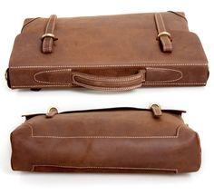 "Vintage Handmade Antique Crazy Horse Leather Briefcase // 14"" Laptop / 15"" MacBook Bag"