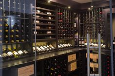Kessick Wine Cellars - Contemporary styled wine cellar in black lacquer finish. Wine Rooms, Wine Cellars, Wine Storage, Caves, Wine Rack, Cork, Liquor, Interiors, Urban