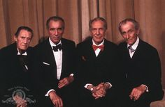 Still of Christopher Lee, John Carradine, Peter Cushing and Vincent Price in House of the Long Shadows
