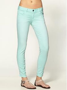 Mint is a hot color for spring and jeans are an easy way to wear the color. Loving these!