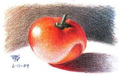 """Tomato by Robert A. Sloan, colored pencil on paper. """"Drawing the Head and Figure, How to Draw Animals, Drawing Scenery: Landscapes and Seascapes are all good complete drawing books. Take them together and you've spent about $30 on Dover books to get a good course in illustration that covers everything but color..."""""""