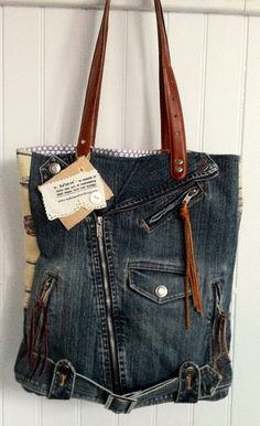Upcycled Jean Vest Tote by helenshandbags on Etsy