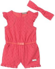 Calvin Klein 2-Piece Romper and Headband Set in Coral #babygirl, #calvinklein, #romper, #promotion