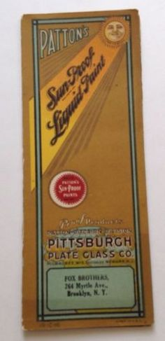 Vintage Brochure 1920s Pattons Sun Proof Paint Pittsburgh Color Card Advertising
