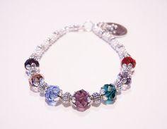 Birthstone Bracelet Grandma handstamped charm Swarovski Family bracelet on Etsy, $26.95
