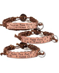 """ON SALE! Heart Speak Bracelets - handmade in the usa - quotes: """"follow your gypsy heart,"""" """"Let your Soul Flower,"""" and """"face the sun & shine"""""""