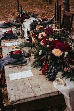 Gothic forest wedding tablescape, Gothic wedding stylings can be created in Iowa, by Lavender Blue Floral Fall Wedding, Rustic Wedding, Dream Wedding, Wedding Country, Halloween Wedding Flowers, Yellow Wedding, Woodland Wedding, Autumn Wedding Themes, Wedding Dress