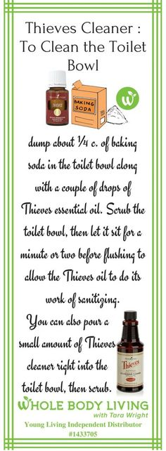 How To Use Thieves For The Toilet Bowl It's simple! To clean your toilet bowl, add ¼ c. of baking soda in the toilet bowl along with a couple of drops of Thieves essential oil. Thieves Essential Oil, Essential Oils Cleaning, Essential Oil Uses, Essential Oil Diffuser, All Natural Cleaning Products, Natural Cleaning Solutions, Natural Products, Young Living Oils, Young Living Essential Oils