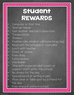 A list of student rewards that are almost all FREE! Students need to be rewarded for the positive things they do at school!