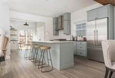 The transformation of this Connecticut cottage by 'The House that Social Media Built' features CliqStudios cabinets in Harbor blue-gray paint. Modern Farmhouse Kitchens, Farmhouse Kitchen Decor, Cottage Kitchen Cabinets, Kitchen Taps, Kitchen Reno, Kitchen Ideas, Studio Kitchen, Modern Kitchen Design, Modern Design