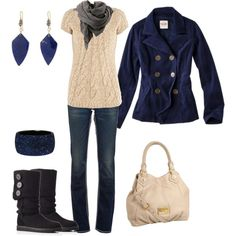 Ivory & Blue.. would wear ivory boots though.. i am not on the whole navy blue and black bandwagon