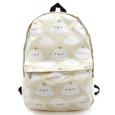 """Color:pink.sky blue.green.light yellow.Size:Height:39cm/15.21"""".Width:30cm/11.70"""".Thick:17cm/6.63"""".Fabric material:canvas.Tips: *Please double check above size a Cute cartoon clouds printing harajuku backpack"""